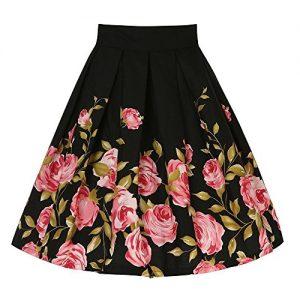 Falda Vintage Mujer Negro y de flores Rockabilly Midi