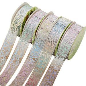 5 unds de cintas adhesivas de flores de encaje