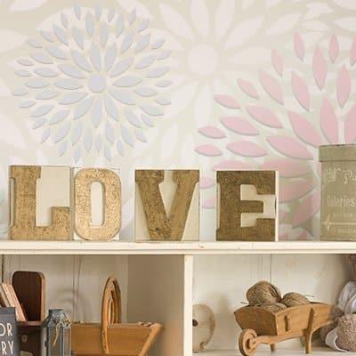 stencil pared floral